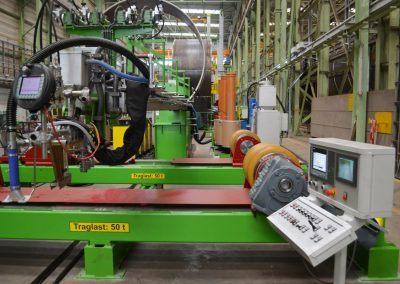 4-Draht Innen-UP-Längsnahtschweißanlage für Großrohrfertigung mit fahrbarem Schweißauslegerarm