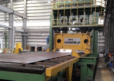 Pre-Bending Press for steel plates with 35000 kN pressing force with infeed roller table 2