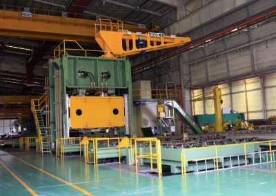 Pre-Bending Press for steel plates with 35000 kN pressing force with infeed roller table 3